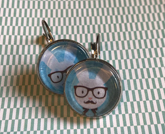 Bunny Rabbit with glasses cabochon earrings - 16mm