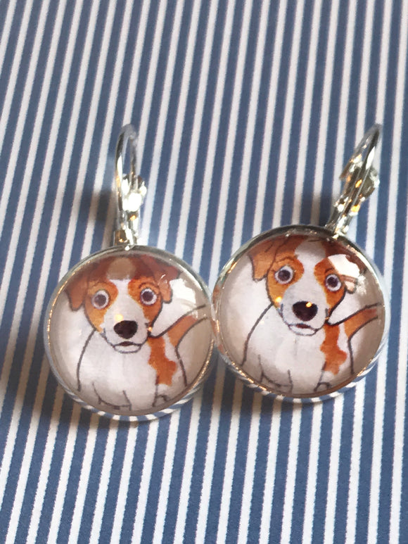Jack Russell terrier dog glass cabochon earrings - 16mm