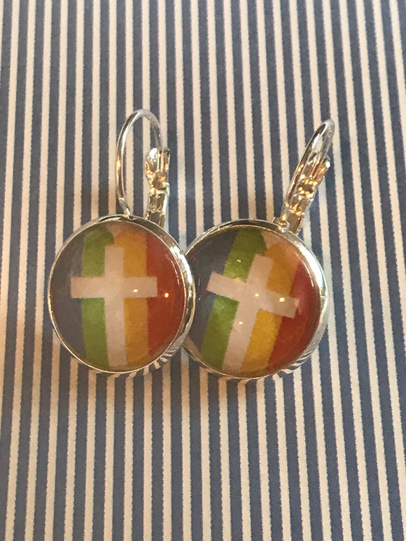 Rainbow cross/pride glass cabochon earrings - 16mm