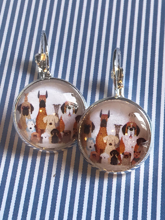Dog breeds glass cabochon earrings - 16mm