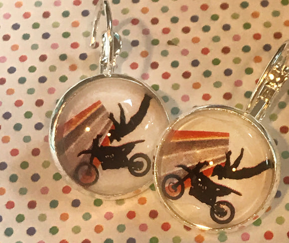 Motocross/motorcycle stunt glass cabochon earrings - 16mm