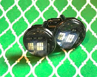 Dr. Who tardis cabochon cufflinks- 16mm