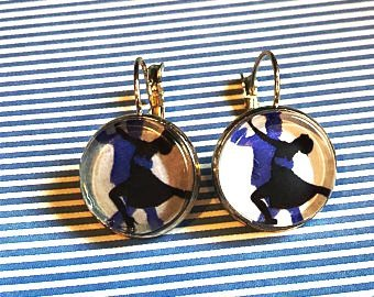 Salsa dance cabochon earrings - 16mm