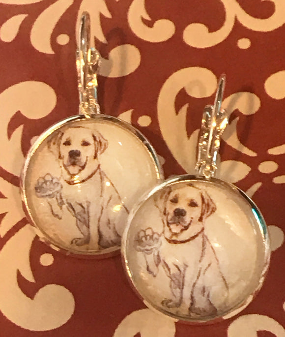 Yellow labrador dog glass cabochon earrings - 16mm