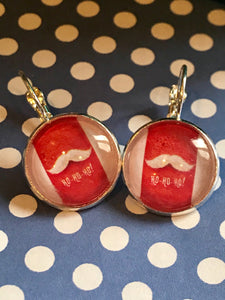 Santa moustache cabochon earrings - 16mm