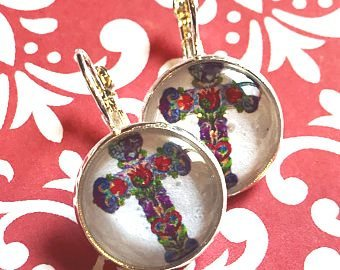 Holy cross cabochon earrings- 16mm