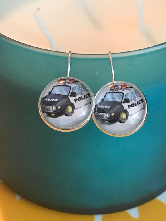 Police car glass cabochon earrings- 16mm