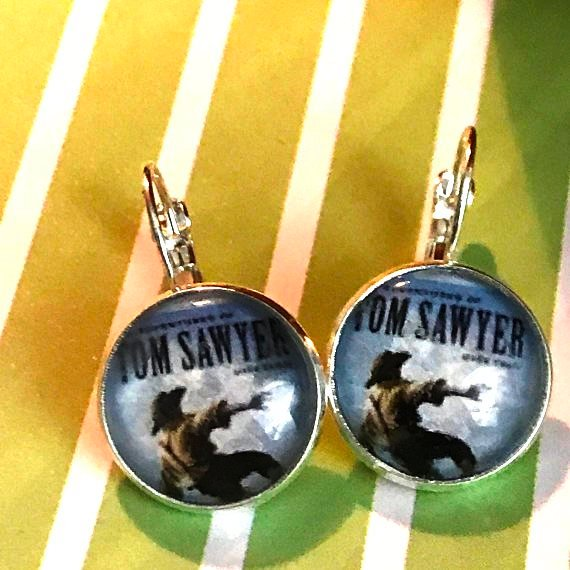 Tom Sawyer book cover glass cabochon earrings - 16mm