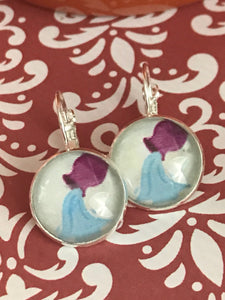 Aquarius the Water Bearer astrological sign glass cabochon earrings - 16mm