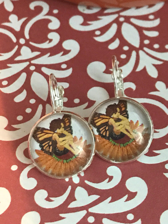 Fairy and butterfly glass cabochon earrings - 16mm