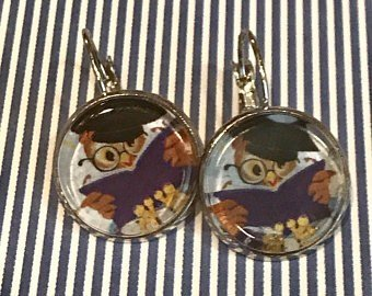 Graduation Owl cabochon earrings - 16mm
