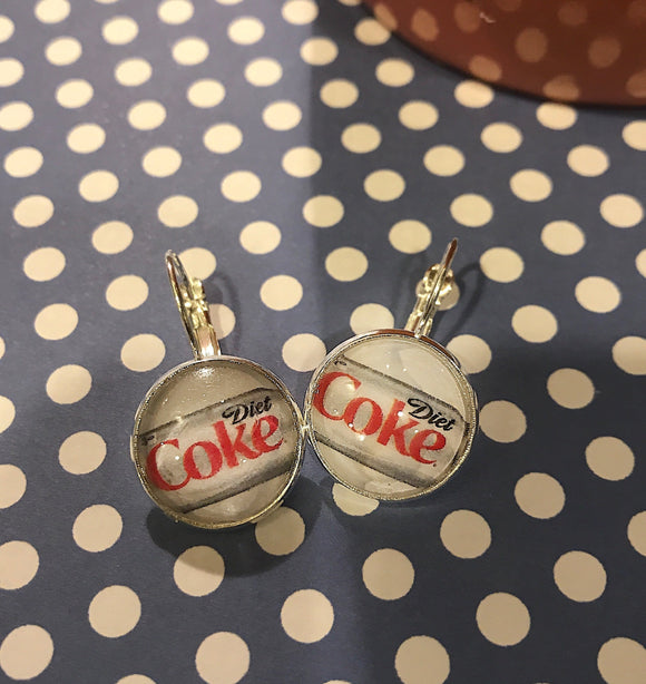 Diet Coke can glass cabochon earrings- 16mm