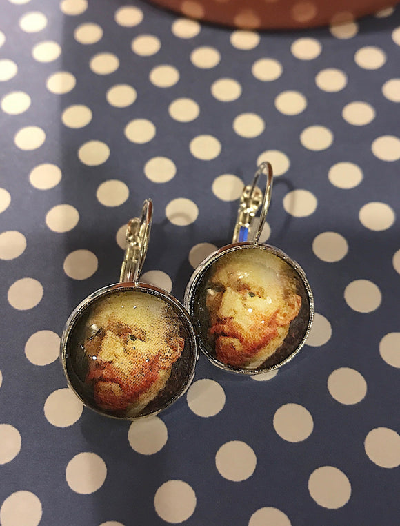 Van Gogh self-portrait cabochon earrings- 16mm