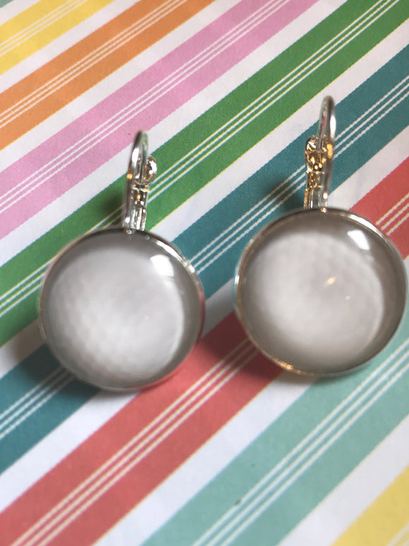 Golf ball glass cabochon earrings - 16mm