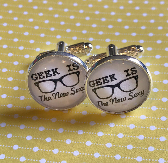 Geek is the New Sexy glass cabochon cuff links - 16mm
