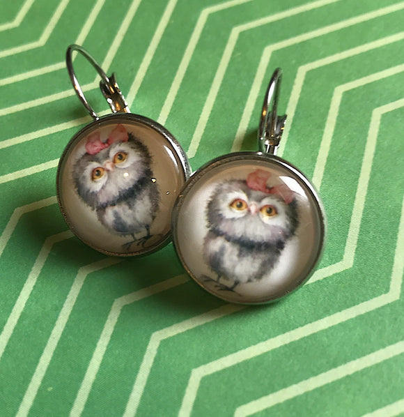Owl/owlet glass cabochon earrings- 16mm