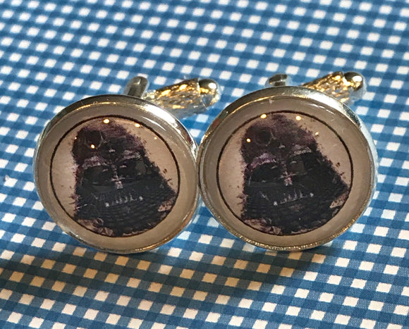 Darth Vader Death Star glass cabochon cuff links - 16mm