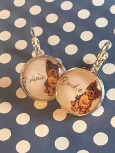 Yorkie dog glass cabochon earrings - 16mm