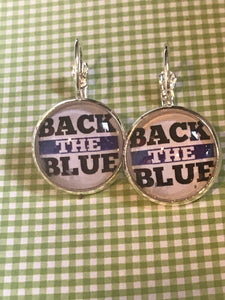 Back the Blue - police glass cabochon earrings - 16mm
