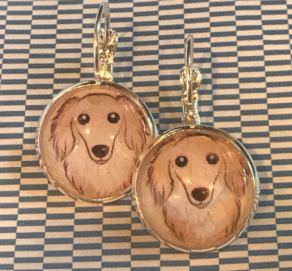 Collie dog glass cabochon earrings - 16mm
