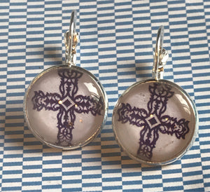 Navy blue Celtic cross glass cabochon earrings - 16mm