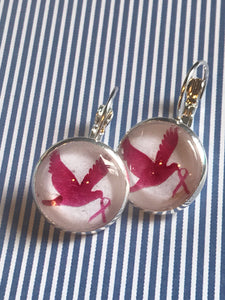 Breast cancer awareness dove glass cabochon earrings - 16mm