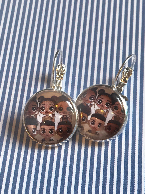 African American faces glass cabochon earrings - 16mm