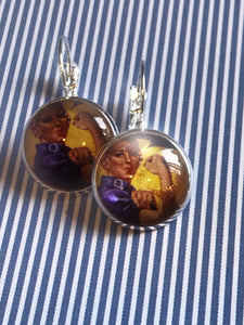 African American Rosie the Riveter glass cabochon earrings - 16mm