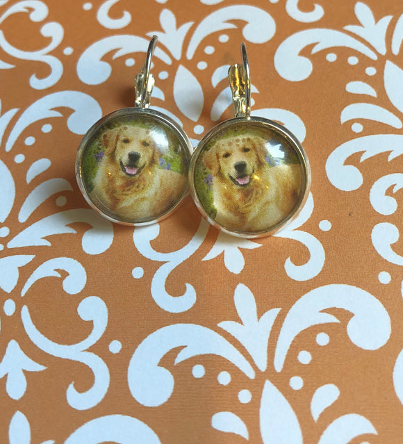 Golden Retriever dog glass cabochon earrings - 16mm