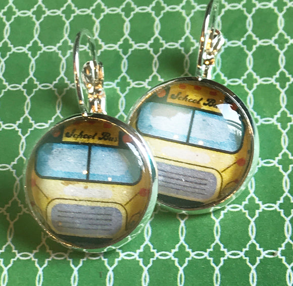 School bus glass cabochon earrings - 16mm