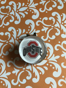 Ohio State Buckeyes cabochon visor clip with ball marker - 16mm