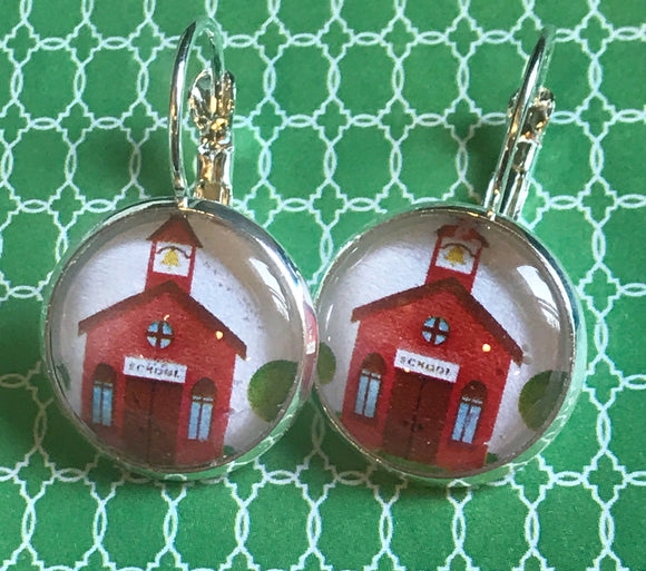 School house glass cabochon earrings - 16mm