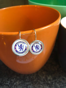 Chelsea Football Club glass cabochon earrings - 16mm