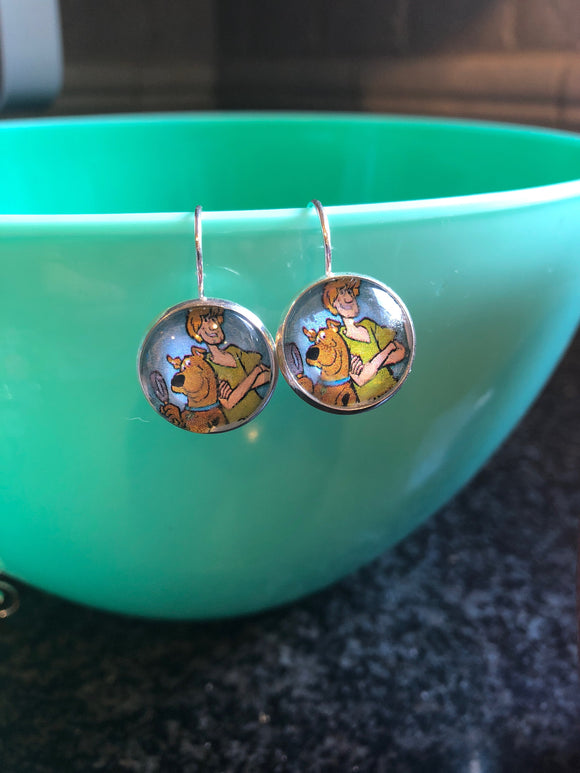 Scooby Doo and Shaggy cabochon earrings - 16mm