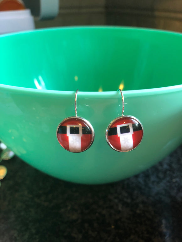 Santa Claus belt cabochon earrings - 16mm