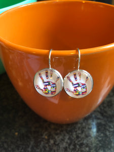 International handprint cabochon earrings- 16mm