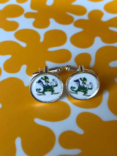 Notre Dame Fighting Irish Leprechaun Glass Cabochon Cufflinks