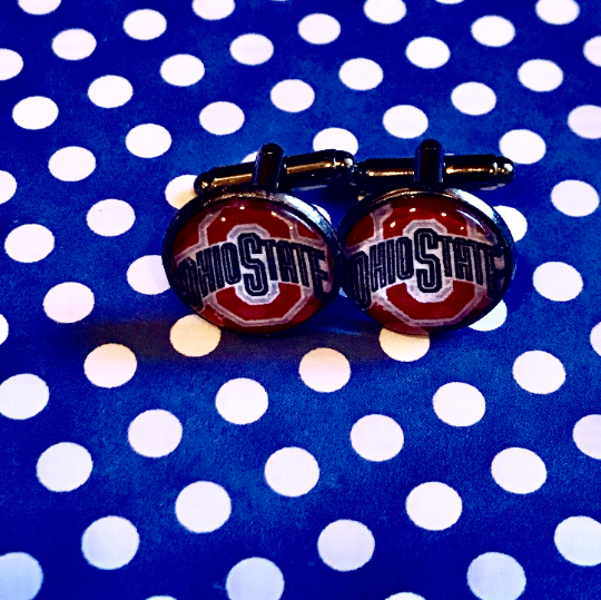 Ohio State University Buckeyes glass cabochon cuff links