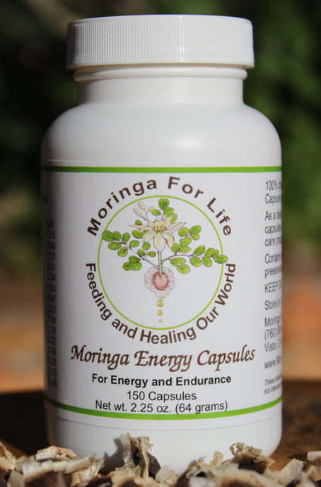 One hundred percent pure Moringa Leaf Powder Capsules with Vegetable Cellulose
