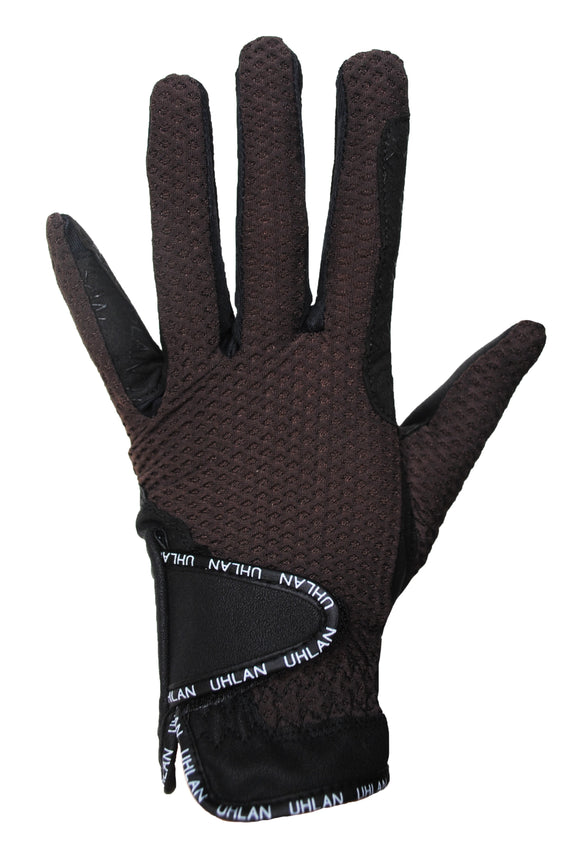 Unisex Brown Mesh Riding Gloves
