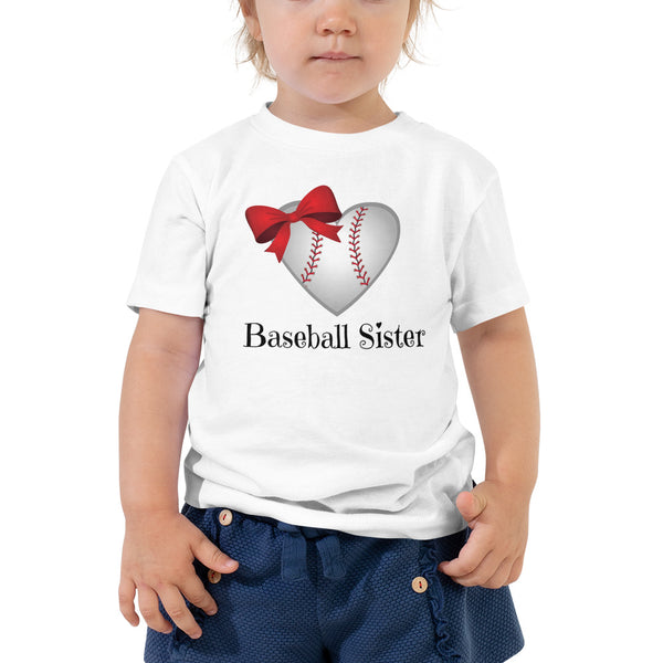 """Baseball Sister"" Toddler Short Sleeve Tee with Tear Away Label"