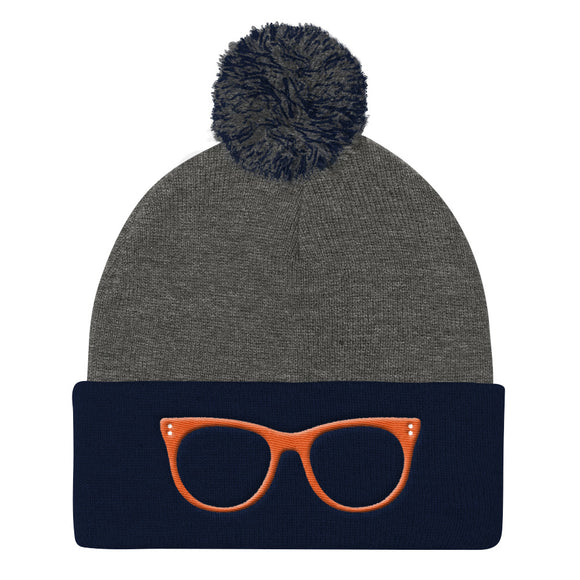 Orange Glass Pom Pom Knit Cap