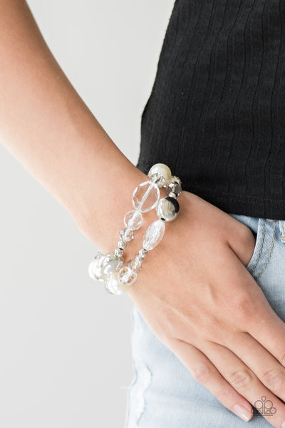 Paparazzi Bracelet-Downtown Dazzle-White