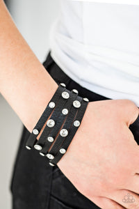 Paparazzi Bracelet-Rhinestone Reputation-Black