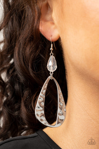 Paparazzi Earrings-Enhanced Elegance-White