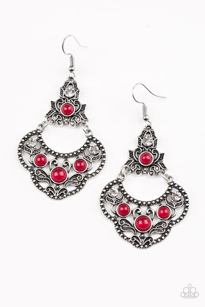 Paparazzi Earrings-Garden State Glow-Red