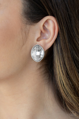Paparazzi Earrings-Movie Star Sparkle-Silver