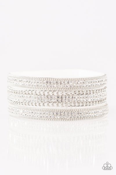 Paparazzi Bracelet-Dangerous Drama Queen-White