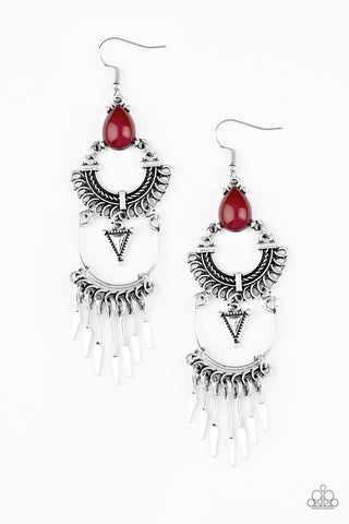 Paparazzi Earrings-Progressively Pioneer-Red