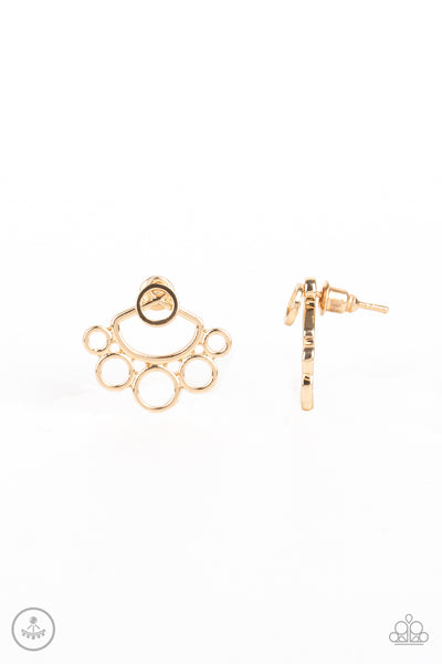 Paparazzi Earrings-Completely Surrounded-Gold